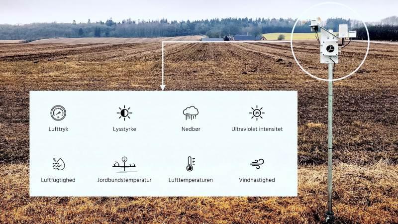 Landmanden får adgang til FieldSense-vejrstationer via en månedlig betaling og vil kunne aflæse sine klima- og vejrdata via en app på telefonen.