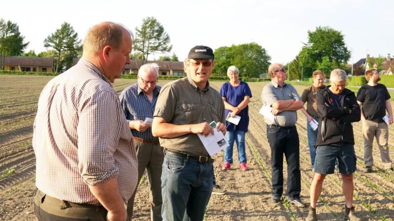 Planteavlskonsulent Søren Holmgren (med kasket) gennemgik spinatmarken hos Hans Ingemann (yderst til venstre).