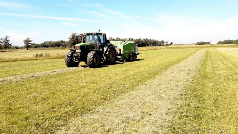 Når der er tale om små mængder ved afpudsning, som tilmed er meget tørt, er det sikreste at presse og wrappe græsset. Herved sikres det, at ensileringsprocessen forløber, som den skal. Resultatet er foder af en meget fin kvalitet. Privatfotos