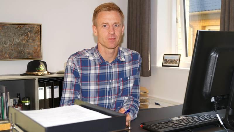 Henrik Lysemose Jensen på forstanderkontoret på Landbrugsskolen Sjælland i Høng.