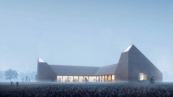 Arkitekternes visualisering af Kornets Hus, som det kommer til at se ud udefra og indefra. Illustration: Reiulf Ramstad Arkitekter